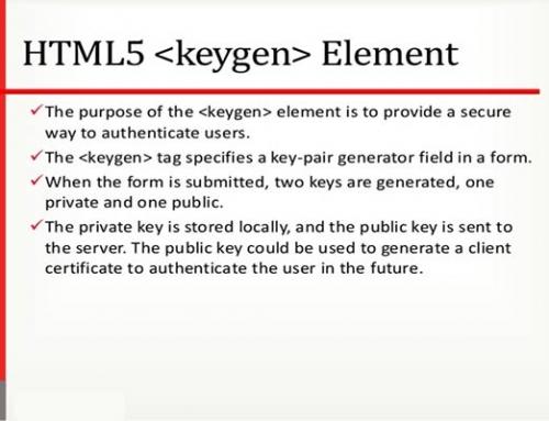 تگ keygen در HTML5
