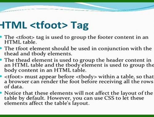 معرفی و کاربرد تگ tfoot در HTML