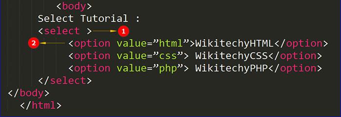 تگ select در HTML