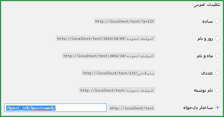 تنظیمات پیوند یکتا آموزش طراحی وب با وردپرس در سایت آموزی