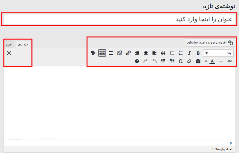 نوشته ها در وردپرس بخش اول | نوار ابزار ویرایشگر وردپرس | آدرس URL