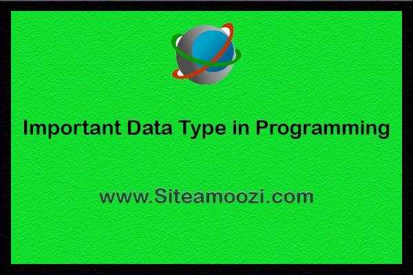 انواع داده ها در برنامه نویسی