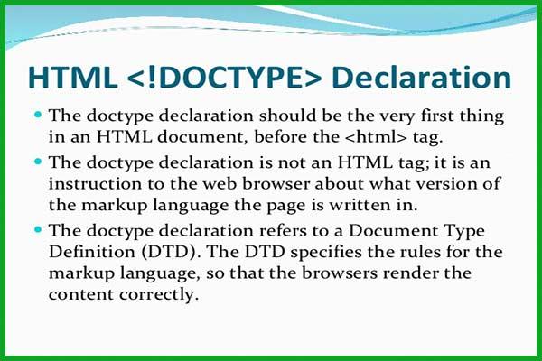 معرفی و کاربرد تگ DOCTYPE! در HTML