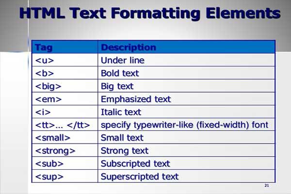 معرفی تگ basefont و تگ big در HTML