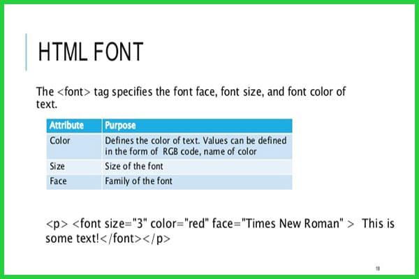 معرفی و کاربرد تگ font در HTML