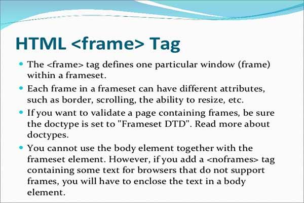 معرفی و کاربرد تگ frame در HTML