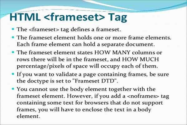 معرفی و کاربرد تگ frameset در HTML