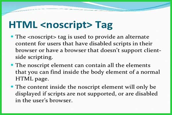 معرفی و کاربرد تگ noscript در HTML