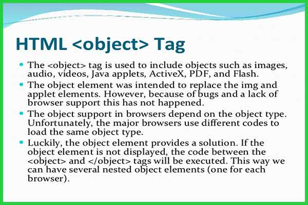 معرفی و کاربرد تگ object در HTML