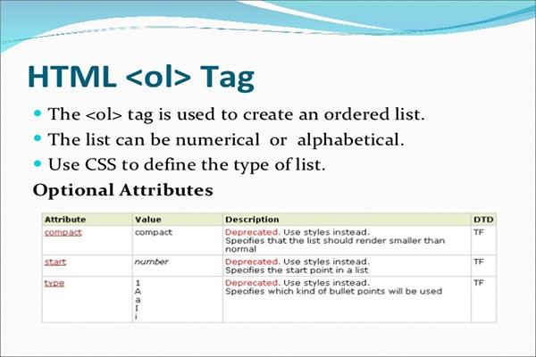 معرفی و کاربرد تگ ol در HTML