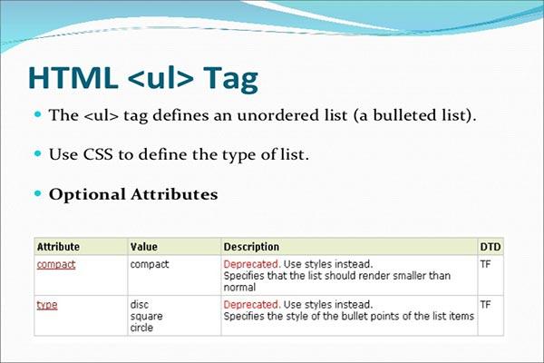 معرفی و کاربرد تگ ul در HTML